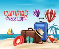 3D Realistic Summer Vacation Poster Design with Bags Royalty Free Stock Image