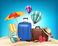 3D Realistic Summer Vacation Poster Design with Bags. In Beach Sea Shore. Vector Illustration Stock Photos