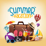 3D Realistic Summer Vacation Poster Design for Travel Stock Image