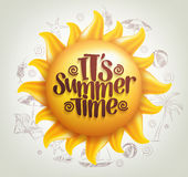 3D Realistic Sun Vector with Summer Time Title in a Background. With Hand Drawing Summer Elements. Vector Illustration Royalty Free Stock Photo