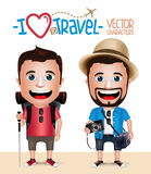 3D Realistic Tourist Man Character Wearing Casual Dress with Camera Stock Photo