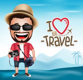3D Realistic Tourist Man Character Wearing Photographer Outfit Stock Photography