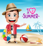 3D Realistic Tourist Man Character Wearing Summer Outfit Stock Photography
