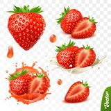 3d realistic transparent isolated vector set, whole and slice of strawberry, strawberry in a splash of juice with drops, vector illustration