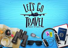 3D Realistic Travel Banner Scene Generator Top View in Blue Wood Planks. With Let`s Go Travel Text and Travelling Item such as Binoculars, Map, Compass vector illustration