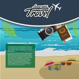 3D Realistic Travel and Tour creative Poster Design with realistic airplane, beach umbrella, passport and air tickets. 3D Realistic Travel and Tour creative Stock Photos