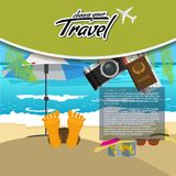 3D Realistic Travel and Tour creative Poster Design with realistic airplane, beach umbrella, passport and air tickets. With palm tree leaf. Vector Illustration Stock Photo