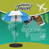 3D Realistic Travel and Tour creative Poster Design with realistic airplane, beach umbrella, world map, passport and air. Tickets with palm tree leaf. Vector Stock Image