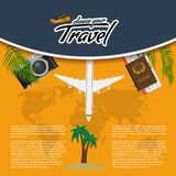Vector 3D Realistic Travel and Tour creative Poster Design with realistic airplane, world map, passport and air tickets. 3D Realistic Travel and Tour creative Royalty Free Stock Images