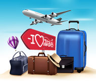 3D Realistic Travel and Tour Design with Set and Collections of Bags Royalty Free Stock Photography