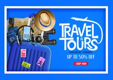 D Realistic Travel and Tours Ads Banner in Blue Background with Blue Traveling Bag vector illustration