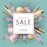 3D realistic Valentine Day sale banner template. Discount offer spring flower sakura pink petal cosmetic package mock up. Frame design delicate pink beige royalty free illustration