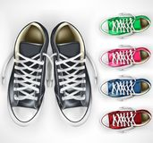 3D Realistic Vector Mesh Pair of Black Sneakers Plus Different Color Variations Set royalty free illustration