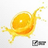 3d realistic vector transparent splash sliced orange juice. Editable handmade mesh.  Royalty Free Stock Image