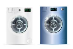 3d realistic vector washers. Realistic white and blue steel fron. T loading washing machines on a white background. Front view, close-up Royalty Free Stock Photos