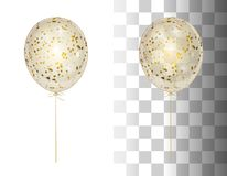 3d realistic white shine transparent helium balloon with golden. Confetti isolated in the air. Festive Party decorations for holiday, birthday, anniversary Stock Photos