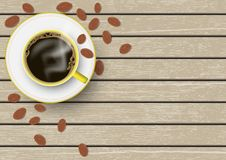 3d realistic yellow and white coffee cup with saucer and coffee beans on brown vintage wooden table vector illustration. Top view stock illustration