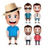 3D Realistisch Jong Beeldverhaalkarakter die de Zomer Toevallige Kleding voor Manier dragen Royalty-vrije Stock Afbeeldingen