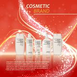 3D realistische kosmetische malplaatje van flessenadvertenties Het kosmetische merk reclameconceptontwerp met schittert en bokeh  Stock Fotografie
