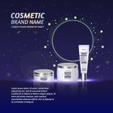 3D realistische kosmetische malplaatje van flessenadvertenties Het kosmetische merk reclameconceptontwerp met schittert en fonkel Stock Afbeelding