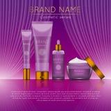 3D realistische kosmetische malplaatje van flessenadvertenties Kosmetisch merk reclameconceptontwerp met golvende lichte abstract Stock Foto
