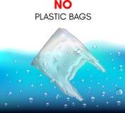 3D realistische plastic zak die in het water zwemt Geen plastic zakteken royalty-vrije stock fotografie