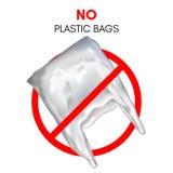 3D realistische plastic zak Geen plastic zakteken Rood eindeteken royalty-vrije stock foto's