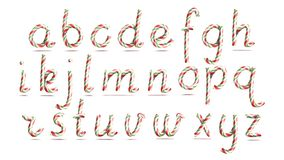 3D realistische Süßigkeit Cane Alphabet Vector Symbol in den Weihnachtsfarben Neues Jahr-Buchstabe gemasert mit dem Rot, weiß Stockfotos