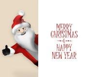 3D realistische Santa Claus Cartoon Character, die auf Fahne zeigt Lizenzfreie Stockbilder