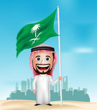 3D Realistische Saoediger - Arabische het Karakter van het Mensenbeeldverhaal Holding en het Golven Vlag Royalty-vrije Stock Foto's