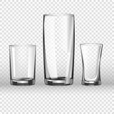 3D realistische vectorpictogrammen van het glasglaswerk op transparante achtergrond stock illustratie
