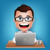 3D realistischer beschäftigter Geschäftsmann Cartoon Character Sitting, das im Laptop arbeitet Stockbild