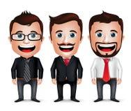 3D realistischer Geschäftsmann Cartoon Character mit unterschiedlicher Geschäfts-Kleidung stock abbildung