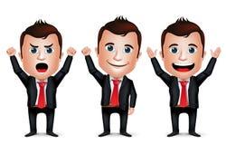 3D realistischer Geschäftsmann Cartoon Character mit unterschiedlicher Haltung Lizenzfreies Stockfoto