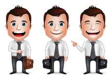 3D realistischer Geschäftsmann Cartoon Character mit unterschiedlicher Haltung Lizenzfreie Stockbilder