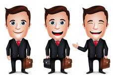 3D realistischer Geschäftsmann Cartoon Character mit unterschiedlicher Haltung Stockfotografie
