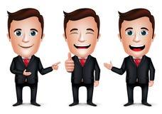 3D realistischer Geschäftsmann Cartoon Character mit unterschiedlicher Haltung Stockfoto