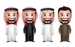 3D realistisk saudier - arabiskt mantecknad filmtecken som bär olika traditionella Thobe Arkivfoto