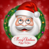 3D realistiska Santa Claus Head Character Inside Christmas Royaltyfri Illustrationer