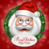 3D realistiska Santa Claus Head Character Inside Christmas Royaltyfri Fotografi