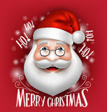 3D realistiska Santa Claus Head Greeting Merry Christmas Royaltyfri Illustrationer