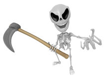 3D Reaper Skeleton Mascot a very sharp scythe brandishing. 3D Sk Stock Photos