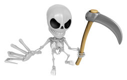 3D Reaper Skeleton Mascot a very sharp scythe brandishing. 3D Sk Royalty Free Stock Images