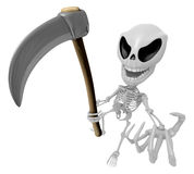 3D Reaper Skeleton Mascot a very sharp scythe brandishing. 3D Sk Stock Photo