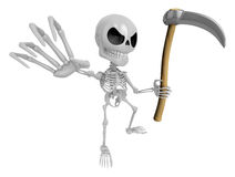3D Reaper Skeleton Mascot a very sharp scythe brandishing. 3D Sk Stock Image