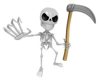 3D Reaper Skeleton Mascot a very sharp scythe brandishing. 3D Sk Royalty Free Stock Photos
