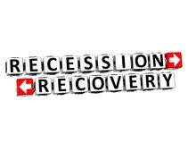 3D Recession Recovery Button Click Here Block Text. Over white background Stock Photos