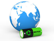 3d recycle battery and earth globe. 3d render of recycle symbol battery and earth globe Stock Image