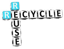 3D Recycle Reuse Crossword. On white backgound Royalty Free Stock Images