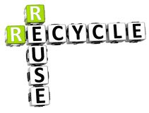 3D Recycle Reuse Crossword. On white backgound Royalty Free Stock Image
